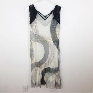 Komarov Crinkle Black White Dress Midi XL